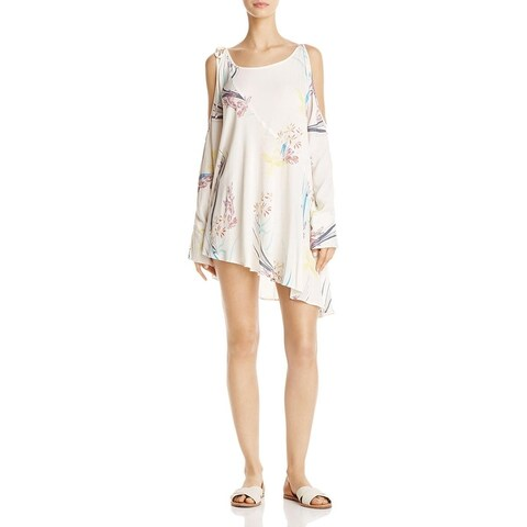 Free People Womens Tunic Dress Printed Open Shoulder