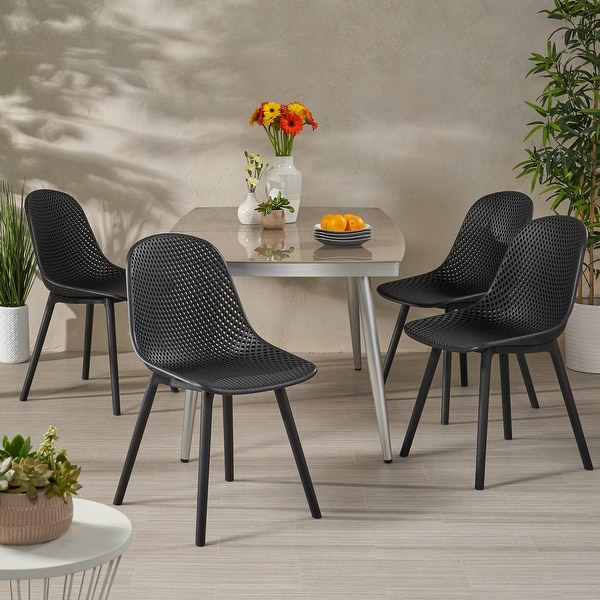 """Posey Outdoor Modern Dining Chair (Set of 4) by Christopher Knight Home - 18.50"""" W x 22.50"""" L x 33.00"""" H. Opens flyout."""