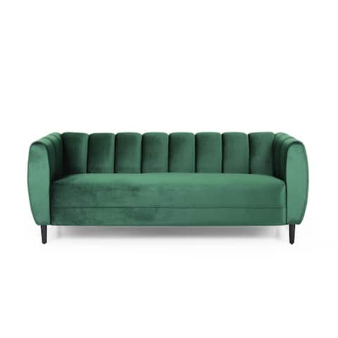 "Bobran Modern Velvet 3-seater Sofa by Christopher Knight Home - 30.00"" D x 83.25"" W x 30.25"" H"