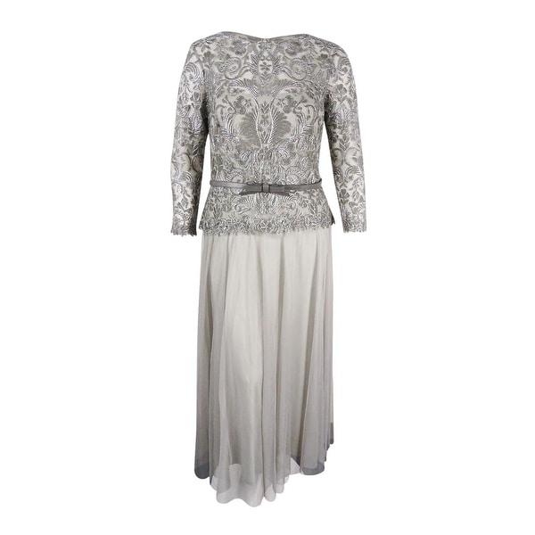 Tadashi Shoji Women\'s Illusion Lace and Chiffon Gown (Ash Grey, 16 ...