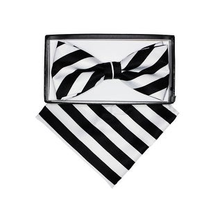 Men's Stripes Pre-tied Adjustable Bow Tie With Hanky - One size