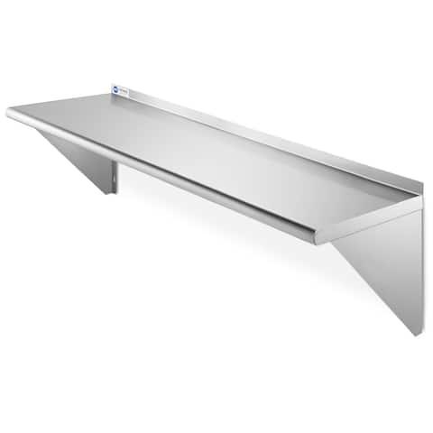 """GRIDMANN NSF 16 Gauge Stainless Steel Kitchen Wall Mount Shelf - 12"""" x 48"""""""