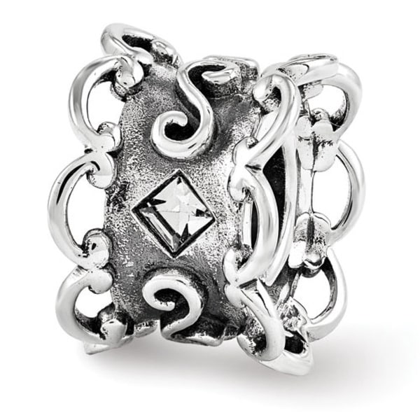 Sterling Silver Reflections Swarovski Bridal Garter Bead (4mm Diameter Hole)