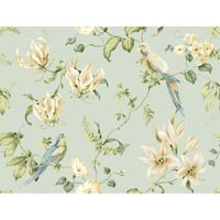 York Wallcoverings JG0752 Blue Book Tropical Floral Wallpaper - Light Blue Background - N/A