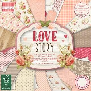 "First Edition Premium Paper Pad 6""X6"" 64/Pkg-Love Story, 16 Designs/4 Each"