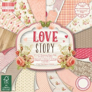 "First Edition Premium Paper Pad 6""X6"" 64/Pkg-Love Story, 16 Designs/4 Each"