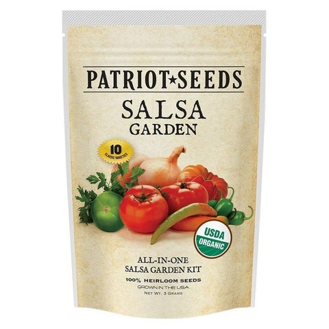 Patriot Seeds Organic Salsa Garden Kit, 10 Heirloom Variety, No Hybrids or GMOs