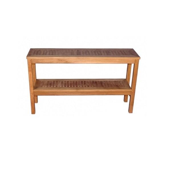 Natural Teak Outdoor Patio Wooden TwoLevel Buffet Sideboard - Teak outdoor buffet table