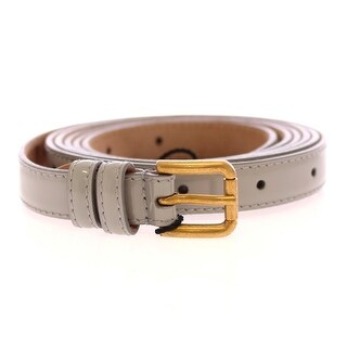 Dolce & Gabbana Gray Leather Logo Belt - 90-cm-36-inches