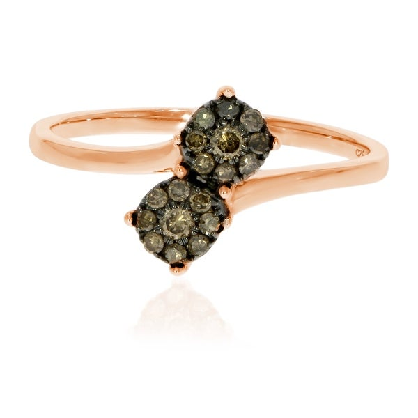 Prism Jewel Natural Brown Diamond Two-Tone Bypass Cluster Ring