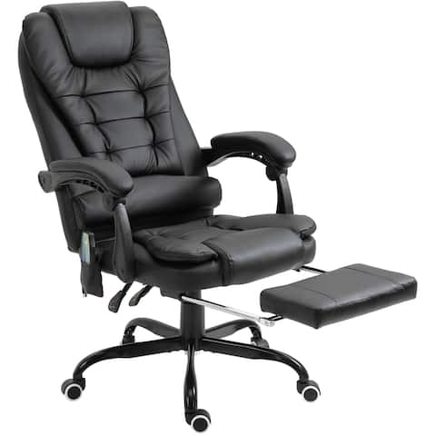 Vinsetto High Back Massage Office Chair with 7-Point Vibration Heating Reclining Back Adjustable Height w/ Headrest Footrest