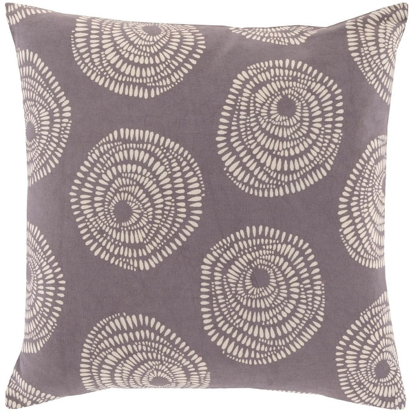 "20"" Plum Gray and Cream White Decorative Throw Pillow – Down Filler"