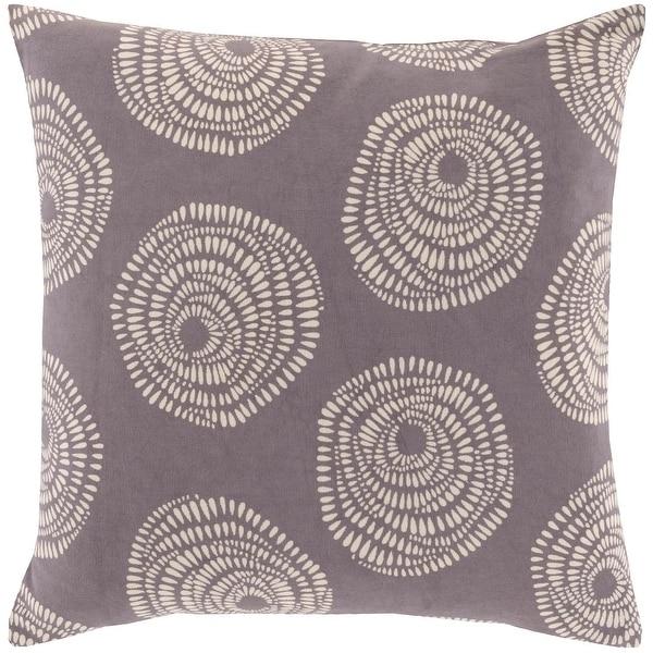 "20"" Plum Gray and Cream White Decorative Throw Pillow"