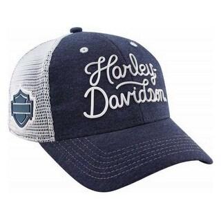 Harley-Davidson Women's Embroidered Harley Script Baseball Cap, Navy BC28685