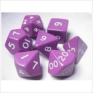Jumbo RPG Dice Sets: Purple/White Opaque Polyhedral 7-Die Set