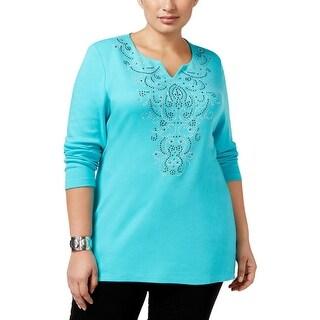 Karen Scott Womens Plus Pullover Top Embellished Split Neck
