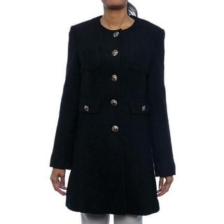 Kenneth Cole NY Women Fancy Button Front Pocket Basic Coat Basic Coat