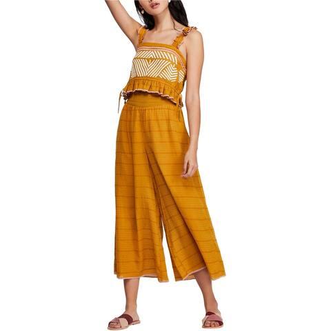 Free People Womens Eva Set Pant Suit, Yellow, X-Small