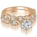 1.40 cttw. 14K Rose Gold Antique Round Cut Diamond Bridal Set - Thumbnail 0