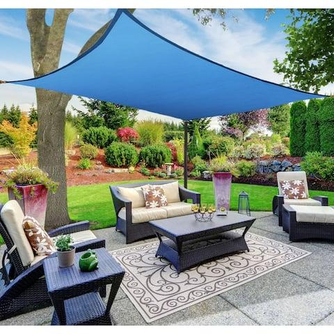 Boen Rectangle Sun Shade Sail Canopy Awning UV Block for Outdoor Patio Garden and Backyard - Blue - 12'x16'