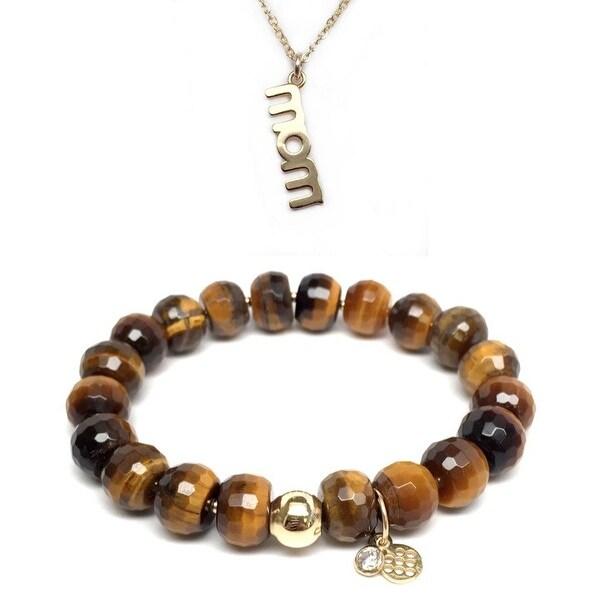 """Brown Tiger's Eye 7"""" Bracelet & Mom Gold Charm Necklace Set"""