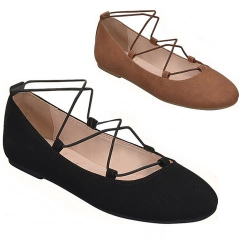 City Classified Pastor Womens Round Toe Criss Cross Slip On Classic Ballet Flats