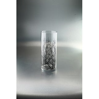 "14"" Clear and Black Cylindrical Glass Vase with Printed Branches - N/A"