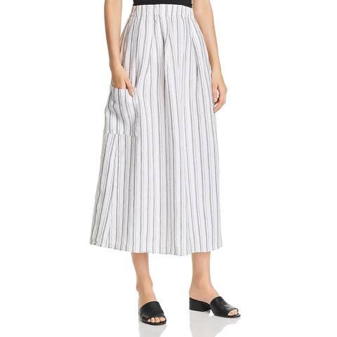 Eileen Fisher Womens Petites Midi Skirt Linen Striped - Pearl - PL