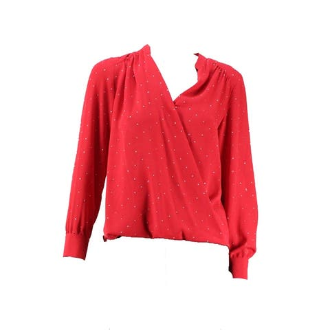 Inc International Concepts Plus Size Red Studded Top W