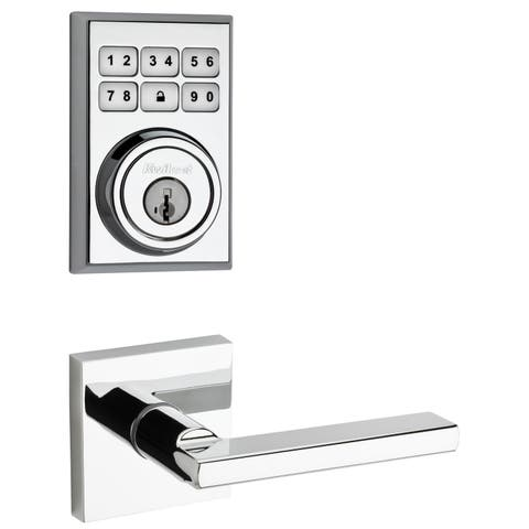 Kwikset 909CNT-HFLSQT-S SmartCode Electronic Deadbolt with Halifax Lever and Square Rosette -