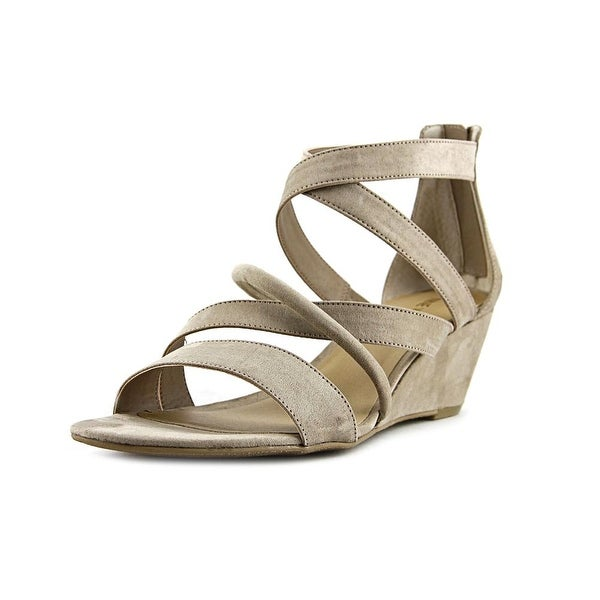 Nine West Hazel Women Open Toe Canvas Gray Gladiator Sandal