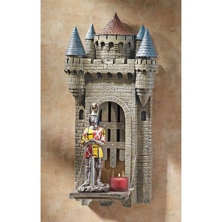 CASTLE CARCASSONE DRAWBRIDGE PLAQUE DESIGN TOSCANO shelves sculptural shelf