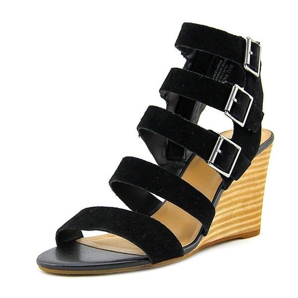 3071a2f60a73 Shop Crown Vintage Serena Women Open Toe Suede Black Wedge Sandal ...