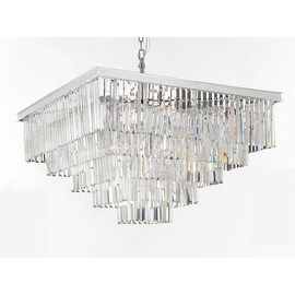 Retro Palladium Crystal Glass Fringe 5 Tier Chandelier Silver Chrome