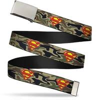 Blank Chrome Buckle Superman Shield Camo Olive Webbing Web Belt
