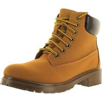 Bamboo Trekking-01 Women's Lug Sole Lace Up Hiking Ankle Booties - honey/wheat