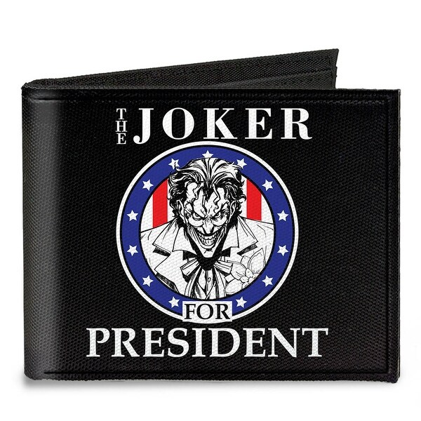 The Joker For President Seal Black White Blue Red Canvas Bi Fold Wallet One Size - One Size Fits most