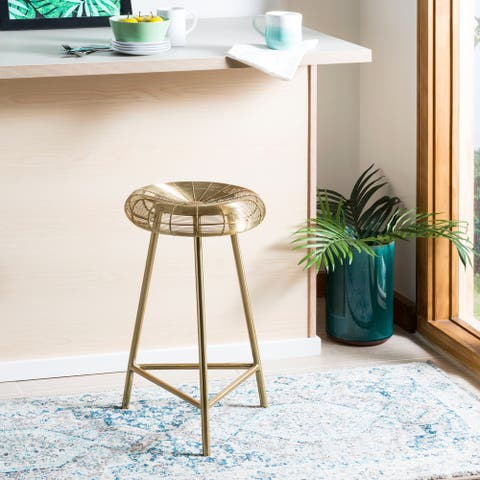 """SAFAVIEH 30-inch Addison Wire Weaved Contemporary Counter Stool - Gold - 17.8"""" x 17.8"""" x 30"""""""