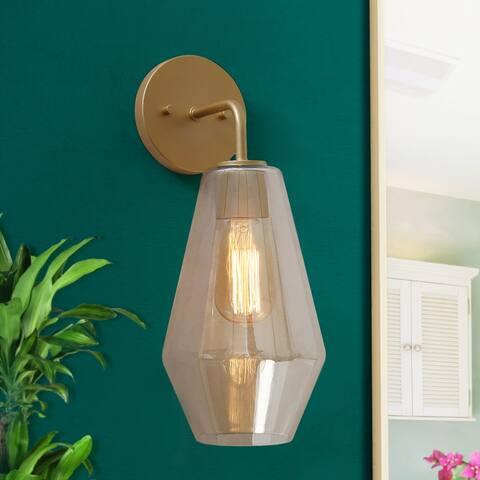 "Mid-century Modern Glam 1-light Glam Wall Sconce Gold Glass Bathroom Vanity Light - Golden - L9""x W7""x H16"""