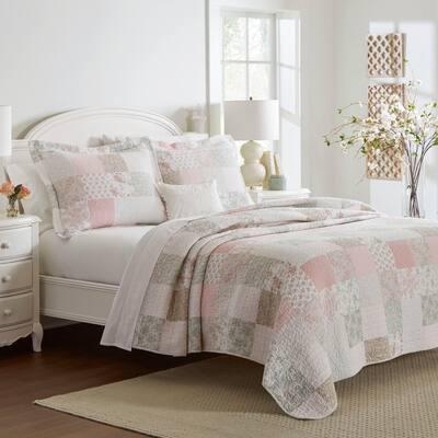 Laura Ashley Celina Patchwork Cotton Reversible Pink Quilt Set