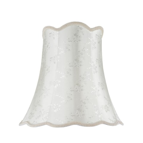 """Aspen Creative Scallop Bell Shape Spider Construction Lamp Shade in Ivory (10"""" x 16"""" x 15"""")"""