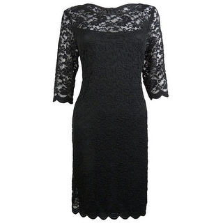 Connected Women's Illusion Scalloped Lace Dress - 6
