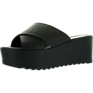 Fahrenheit Angela-02 Womens Open Toe Slide Platform Wedges Sandals