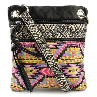 Twig & Arrow Passport Cross Body Bag Women Canvas Satchel - Multi-Color