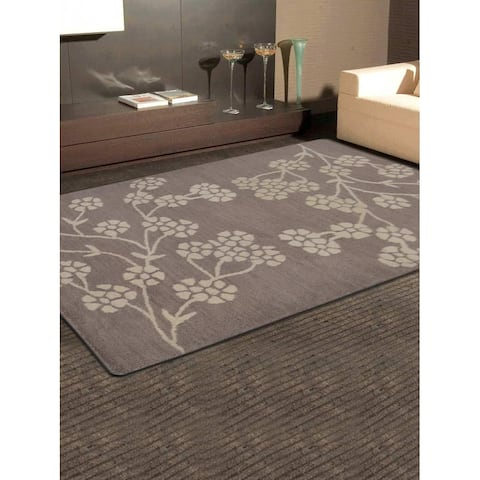 Hand Tufted Wool Area Rug Floral Beige White - 9' x 12'