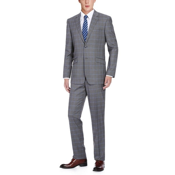Mens 2-Piece Plaid Notch Lapel Slim Fit Suit