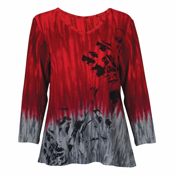 Women's Parsley & Sage Poppy Print 3/4 Sleeve Tunic