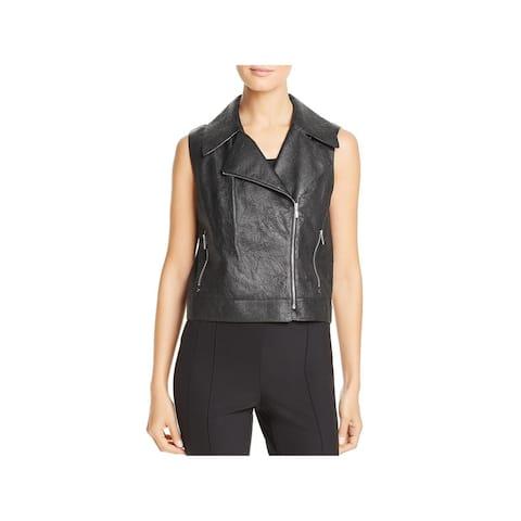 Lafayette 148 New York Womens Stevie Vest Leather Moto - Black - M