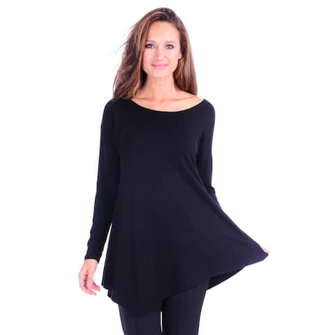 Simply Ravishing Women's Assymetrical Front/Back Handkerchief Hem Long Sleeve Tunic Top