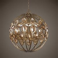 """29"""" Burnished Gold with Teak Cut Crystal Modern 8-Light Sphere Hanging Chandelier"""